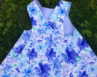 Blue flowered sway dress
