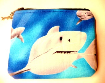 New coin purse with shark made from shark fabric