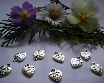 5 charm love heart silver tone 12 x 9 mm * set of 5 *.