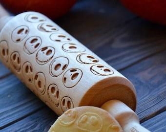 SEASON SALE Jack Skellington Rolling Pin Nightmare Before Christmas Custom Engraved Sugar Cookies Stamp Gift for Friend BFF Sister Mom Baker