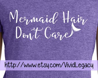 Mermaid Hair Don't Care with Mermaid Tail Womens Soft V-Neck Ladies Shirt