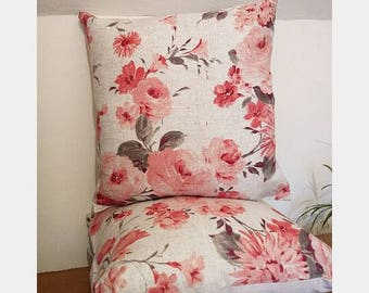 Country Rose Print Linen Cushion Covers