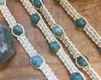 African Jade Hemp Bracelets and Anklets