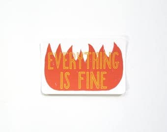 Screenprinted Postcard - Everything Is Fine