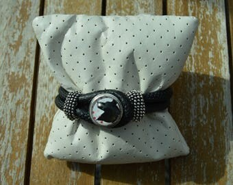 Wolf leather chunk bracelet