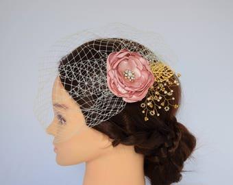 Wedding Veil, Birdcage Veil, Bridal Headpiece, Wedding Fascinator, Bridal Hair FLower, Wedding Hair Piece, Flower Veil, Flower Hair Clip
