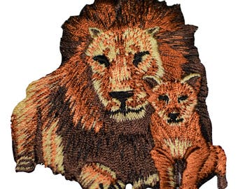 Lion and Cub Applique Patch (Iron on)