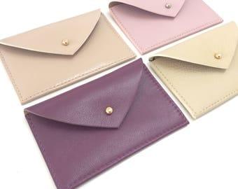 Leather Card Holder.Leather Card Case.Envelope Wallet.Leather Credit Card holder.Business Card Case.ID Wallet Minimal. Pink card holder.
