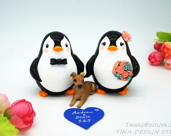 Penguin Wedding Cake Toppers With A Dog-Bride And Groom Wedding Cake Topper With A Pet-Family Wedding Cake Toppers