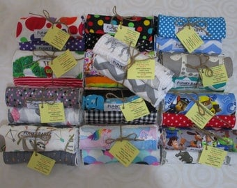 Baby burp cloth packs 100% cotton,handmade-9 to choose from-Pack of 3.