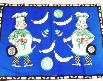 Blue Chefs Cooking Fabric Vintage Cooking Fabric Barbecue Cloth Vintage Chefs Fabric Vintage Chef Cloth
