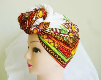 White Dashiki Print Ankara Head wrap, DIY head tie, Stylish African head scarf, Fabric hair accessory – Made to Order