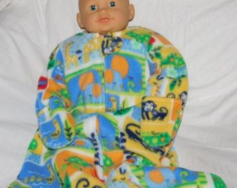 BABY FLEECE SLEEP sACK --  Colorful zoo animals with attached mittens - Small Only