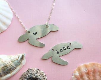 Honu Sea Turtle Necklace | Chelonia Mydas | Turtle Pendant | Turtle Silhouette