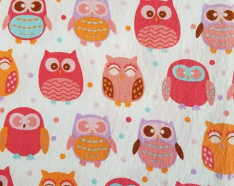Cotton Fabric, Sewing Fabric, Quilting Fabric, Pink Owls, 5 yards-Ready to Ship