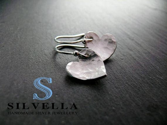 Solid Silver Hammered Dangle Hearts - Handmade in Wales - Gift for Her - Silver Heart Earrings