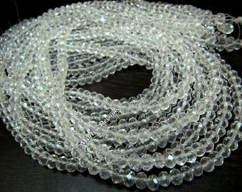 SALE- White Crystal Hydro Quartz 3-4mm Size Beads , Rondelle Faceted approx. 100 Beads per Strand , Jewelry Beads in Wholesale Price.