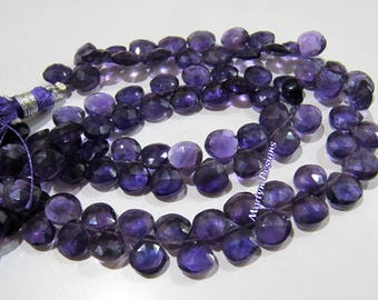 Best Quality African Amethyst Beads , Briolette Heart Shape Amethyst Beads , 8 mm Amethyst Briolette Beads , Strand 8 inches long