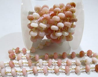Natural Pink Opal Rondelle Faceted Beaded Chain , Peruvian Opal Beads Rosary Chain 8mm , Wire Wrapped Beaded Chain, Sold per Foot- Wholesale