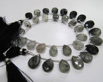 Natural Genuine Black Rutilated Quartz Pear Shape Beads,10x13 to 11x16mm Briolette Beads,Strand 8 Inches Long,Black Rutile Heart Shape Beads