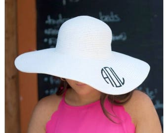 Monogram Sun Hat, Monogram Beach Hat, Floppy Hat, Straw Hat, Monogram Floppy Hat, white Hat, Ladies beach hat, personalized hat, cruise hat