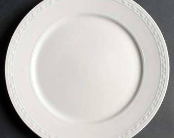 Vintage Oneida Meridian pattern round platter | chop plate designed by Alexander Mourokh. Classic all white, embossed border.