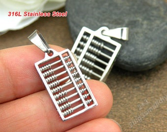 Stainless steel abacus charm pendant,abacus model,stainless steel calculator pendant,children pendant