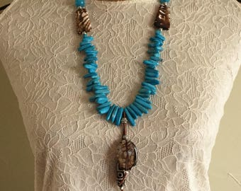 Flashy Agate and Turquoise Necklace