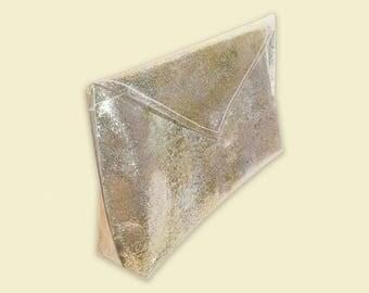 Clear Glitter Bag, Clear Clutch, Transparent Purse, Envelope Clutch, Purses and Bags, Clear Vinyl Bag, Clear Bag, Girly Purse, Confetti Bags