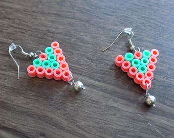Small pastel pink/green hama bead and Pearl triangle Silver Earring