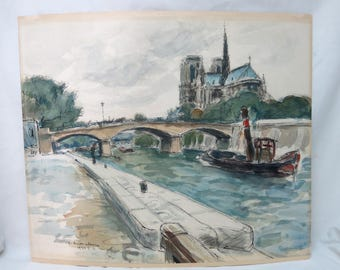 Andre Malterre Watercolor Signed and Dated September 14, 1939