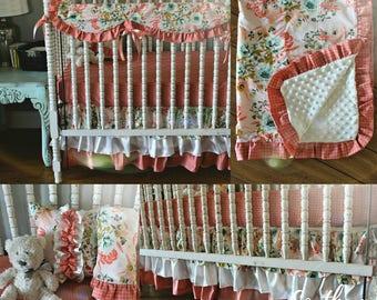 Shabby Floral Crib Bedding