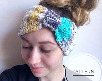Crochet Headband Pattern , The Nora Ear Warmer, Boho Crochet Headband, Crochet Headband, Knot Ear warmer Pattern, Children's Headband