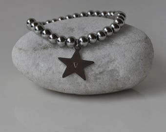 Engraved Star Steel Bracelet