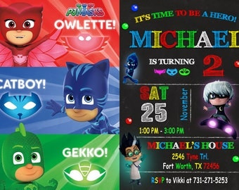 Pj Mask Invitation, Pj Mask Birthday, Pj Mask Party, Mask Invitation, Pj Invitation