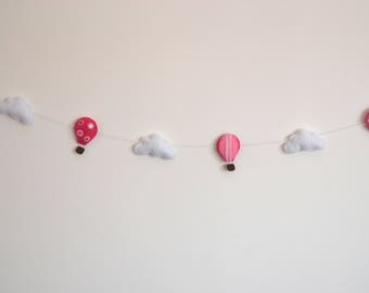 clouds and balloons felt Garland, cloud felt decor nursery baby room wall decoration, deco child