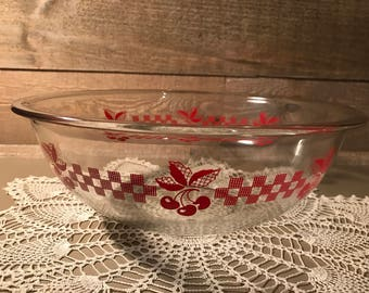 Clear Pyrex With Red Cherries Bowl Number 326 Largest Size