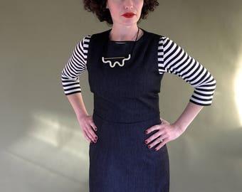 Pinafore Dress Indigo Denim. Pinafore Dress. Indigo Denim Over Dress. Rockabilly Dress. Shift dress. Pencil Skirt. Straight.