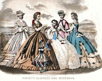Make Your Own Jumbo-Sized GODEY 1800's FASHION PRINT to Sell (#3)