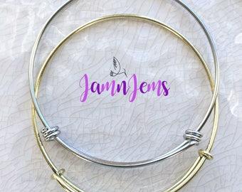Adjustable Bangle Bracelet, Expandable, Stainless Steel Bangle, Gold Bangle, Childrens Jewelry, Stackable Bracelets, Charm Bracelet, Silver