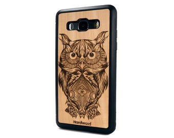 Owl Real Wood Natural Cherry Wood Case Samsung Galaxy  J3/J5/J7 (2017 / 2016) case | Galaxy J5/J7 wood case | Galaxy J5/J7 wooden cover