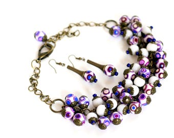 Bohemian necklaces Fashion Chunky necklace Purple statement necklace Polymer Clay Bead necklace Handmade Beaded jewelry Necklaces for women