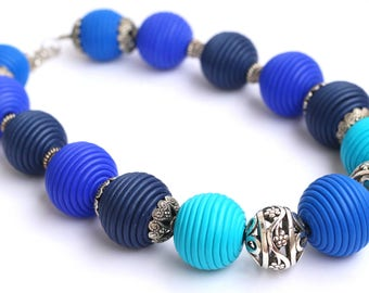 Blue Chunky necklace Blue Bead necklace Contemporary jewelry Polymer Clay jewelry Necklaces for women Beaded necklace Bold necklaces