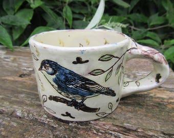 Mug, Handmade, Slipware, Earthenware, Pottery, Hand drawn, Bird design, Unique
