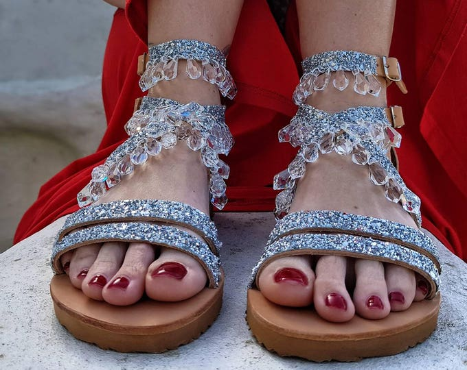 DHL FREE Greek sandals/gladiators/ crystals sandals/luxury/sparkly sandals/women shoes/rhinestones/wedding sandals/bridal sandals/strappy