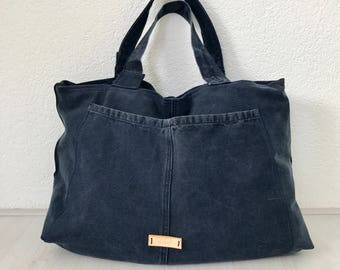 Repurposed dark blue cotton bag, handbag, shoulder bag