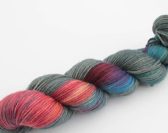 Biotics test dye - Hand Dyed Yarn uk - 75% Sw Merino 25 nylon chunky socks Dk weight sock yarn bright variegated spiral yarn Blue Teal Pink
