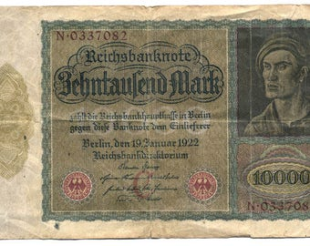 1922 Germany 10,000 Mark Reichsbanknote