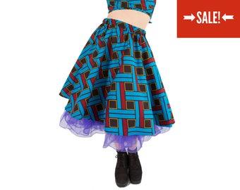 COLOURFUL SWING SKIRT - geometric blue African print