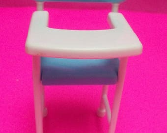"""Doll Baby High Chair White Legs With Blue Seat Doll House Furniture Hard Plastic 1997 Viacom International 4.75"""" Tall"""